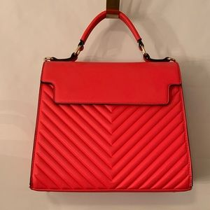 Neon Red/Coral Top Handle Purse